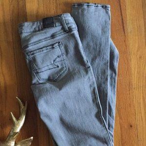 AEO Grey Stretch Distressed Jeans